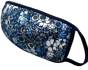 BLUE AND WHITE FLOWERS face mask
