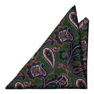 BOFFOLA Green pocket square