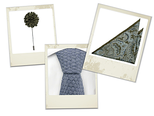 Ragga blue tie, Pulito Moss green pocket square and Flower Moss green lapel pin gift combo