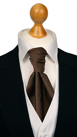 SOLID Dark brown cravat
