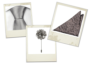 Magisk silver tie, Jajaman beige pocket square and Petals silver lapel pin gift combo