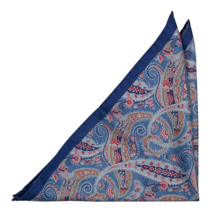 MEANDRO Blue pocket square