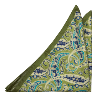 MEANDRO Light green pocket square
