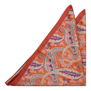 MEANDRO Orange pocket square