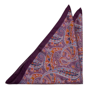 MEANDRO Purple pocket square