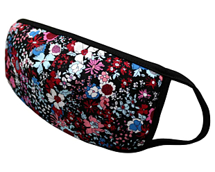 RED AND BLUE FLOWERS ON BLACK face mask