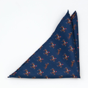 TIEQUESTRIAN Blue pocket square