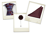 Hakan tie, Lancelot pocket square and Flower rusty red lapel pin gift combo