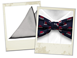 Tomteluva blue bow tie and Magisk silver pocket square gift combo