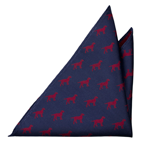 Pocket square Endal has dark blue, ribbed base with red dogs, labradors