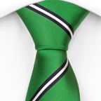 Necktie Legolas has a glossy green base with broad stripes in navy and white.