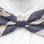 Linen bow tie Liam has woven beige stripes on blue herringbone pattern