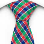 Necktie Yahya has checked stripes in green, navy blue and red